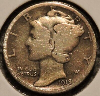 Silver Mercury Dime - 1918 - Early Dates! - $1 Unlimited Shipping