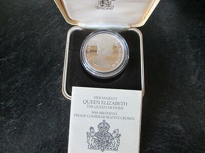 Queen Mother 80Th Birthday Sterling    Silver  Proof Commemorative Crown