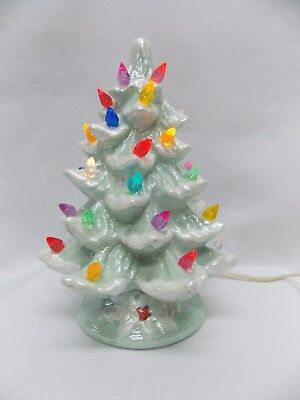 Light Green Ceramic 7 In Xmas Tree Fired Gloss Glaze Multi color lights Wiring