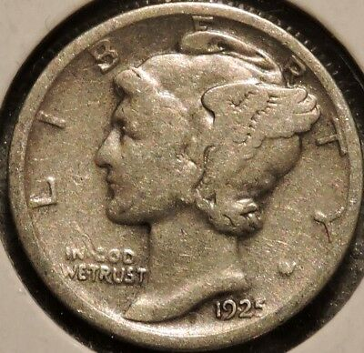 Silver Mercury Dime - 1925 - Early Dates! - $1 Unlimited Shipping