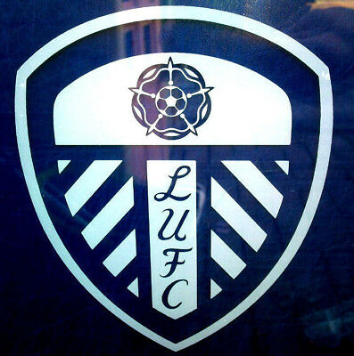 2X Leeds United White Vinyl Window Stickers Car Van Bus patio door Graphic LUFC