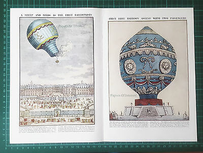 (695) First Hot Air Balloon Montgolfier Sheep   - c.1950s Double Page Spread