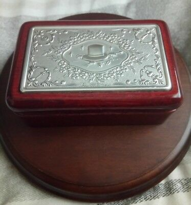 Solid Silver Topped Lidded Wooden Box 925