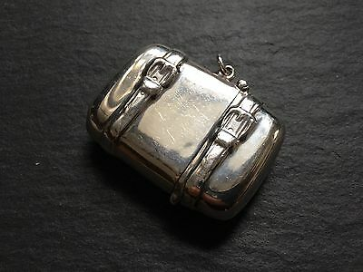 Collectable Solid Silver Vesta Case In Shape Of Vintage Suitcase Luggage Trunk