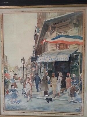 Dibujo Acuarela, Antigua, firmada Georges Stein, Bar du Grand Lafayette Paris