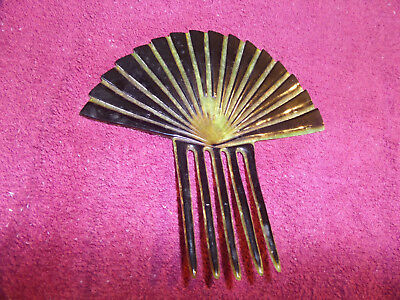 Antique Mantilla Style Hair Comb Green & black  Celluloid LARGE 6 and 1/4""