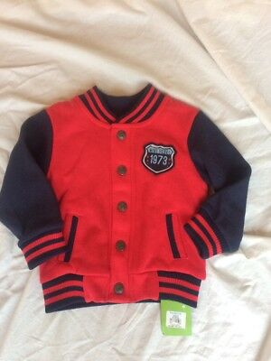 BNWT Boys Bomber Baseball Style Jacket Red Blue 12-18 Months Winter