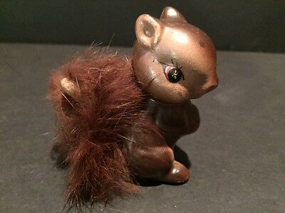 Vintage Enesco Brown Squirrel Figurine with Bushy Tail  Japan 1950s