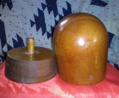 Vintage Hat Mold Louie Miller School of Millinery Two Pieces. Mold & Stand Wood