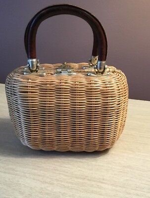 "Vintage Natural Color Woven Ritter It""s In The Bag Small Purse Handbag Pinup"