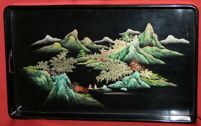 Vintage Asian Hand painted Laquer Wood Landscape Tray
