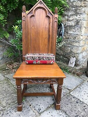 Gothic Style Chair Reproduction With Tapestry Bolster Cushion Hard Wood