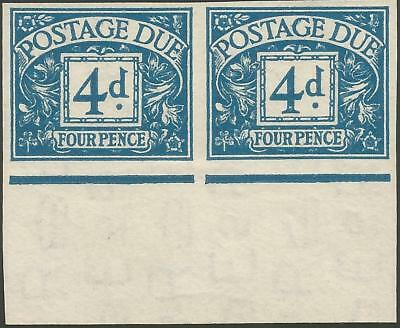 1955 SGD43a 4d blue Postage Due very fine bottom marginal horizontal imperf pair