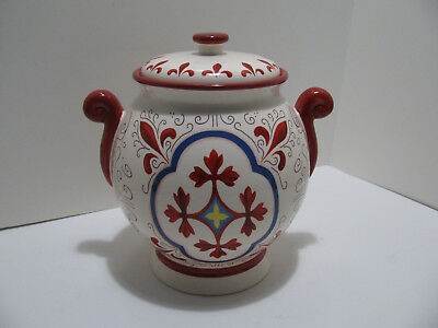 Nonni's Ceramic Hand Made Biscotti/Cookie Jar, Scroll Handles Red/White