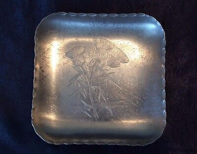Vintage Decorative Aluminum; Hand-Wrought Small Sq Serving-Tray - Thistle Detail