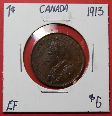 1913 Canada Large One Cent Penny Coin 8472 - $6 EF