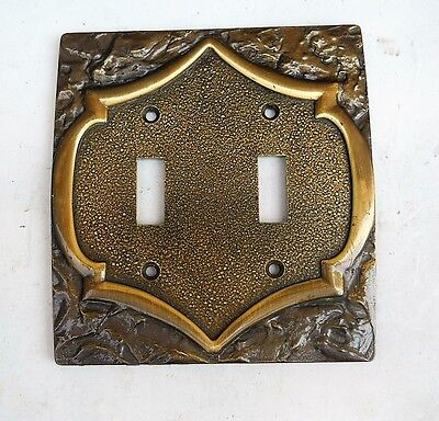 Vintage Antique Brass Amerock Monterey Double Switch Plate Cover