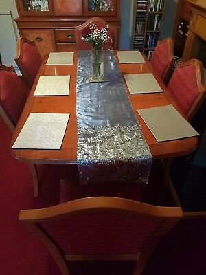 Dining Table - Extending Yew Finish Reproduction & 6 Chairs