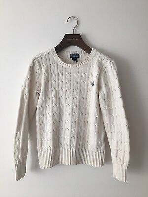Polo by Ralph Lauren Cable Knit White Cotton Sweater, Kid Size M 10-12