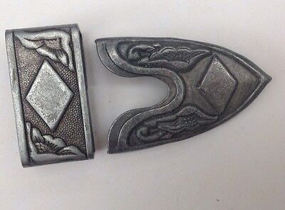 Vintage Western Cowboy Belt Buckle Keeper And End