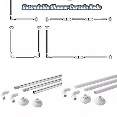 Corner Shower Curtain U&L Shape 4 Way Rod Pole Bath Rail White Or Chrome