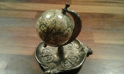 """Vintage Miniature Globe Map World Brass Footed 4"""" Stand"""