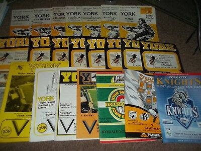 York Rugby League Programme Collection Homes 1975 - 2003 X 23