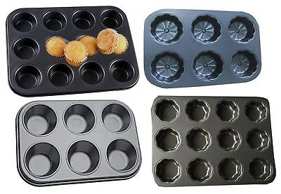 New 6,12 Cupcake Tray Muffin Cup Cake Tins Non Stick Mould Baking Trays Bake