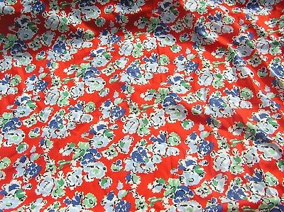2.4m genuine 1950's vintage red white blue green floral cotton dress fabric 90cm