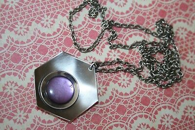 Womens Vintage 1970s Stainless Steel Pendant Necklace Lilac Retro Jewellery Gift