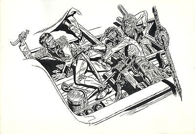 Illustration originale - George Wunder - Ink drawing -Terry & the Pirates artist