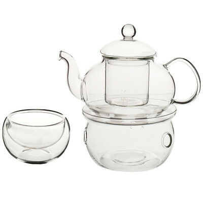 PF Set of Heat-resistant Glass Teapot with Strainer Flowers And Flower Tea Kung