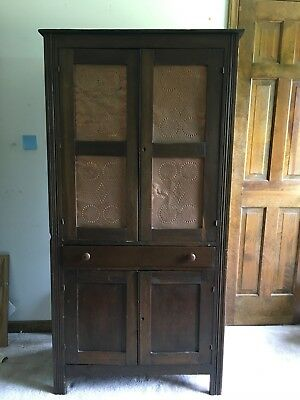Primitive Antique Pie Safe with Tin Punch Doors