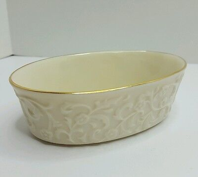 Lenox Fine China Small Oval Candy Dish Raised Floral Pattern 2002