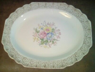 "WS GEORGE LIDO CANARYTONE GOLD FILIGREE FLORAL 13-1/2""Large SERVING Platter 397A"