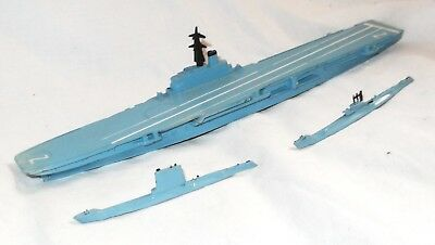 Tri-ang Minic,  HMS 'Albion' & 2 Submarines.  Diecast Models.  1950's / 60's.