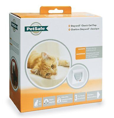 PetSafe Staywell 32 White Magnetic Cat Flap Door 932 & Inc Two key 4 way locking