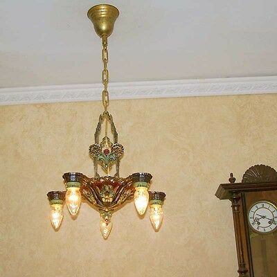 198b Vintage 1910's Ceiling Light lamp fixture polychrome chandelier art nouveau