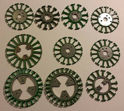 """Lot of 10 Flat Motor Frames 1.5"""" to 2.25"""" Green Steel Great for Jewelry or Art"""