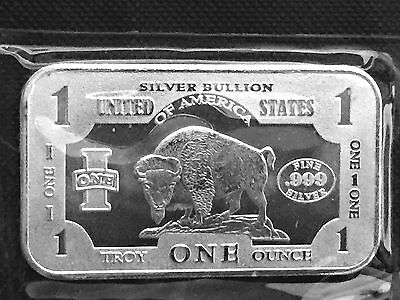 Bison/Buffalo 1 Troy oz .999  Fine Silver Art Bar SEALED