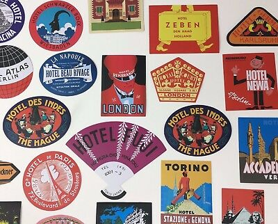 REPRODUCTION HOTEL LUGGAGE LABELS - All Different - Asst Vinyl Travel Decals NEW
