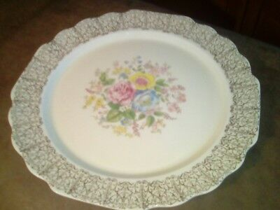LIDO W S GEORGE CANARYTONE Dinner Plate Floral Gold filigree  (Only 10 Left)
