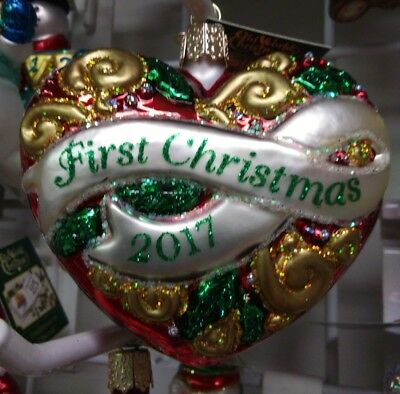 """Old World Christmas """"First Christmas Heart"""" 2017 Ornament-GLASS OWC 1st"""