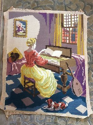 Completed vintage Penelope Tapestry.The Music Room, Piano, Dog, Cat
