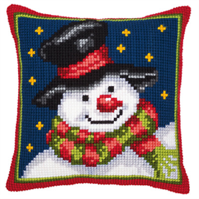 Snowman/Christmas  Large Holed Printed Tapestry Canvas Cushion Kit -Cross Stitch