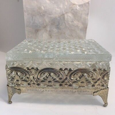 Vintage Or Antique Cut Crystal Diamond Point Footed Jewelry Casket Dresser Box