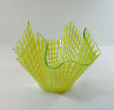 Small Vintage Chance Yellow Check / Gingham Handkerchief Vase With Sticker