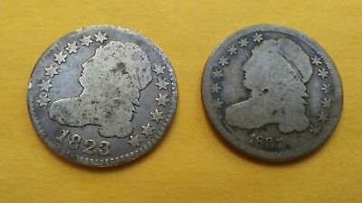 Capped Bust Dime Lot (2) 1823 sml E's & 1837 old silver 10C