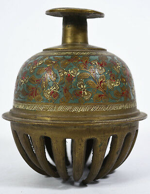 Vintage 1950s Era MGM Movie Prop - Anglo-Indian Enameled Cast Brass Hand Bell