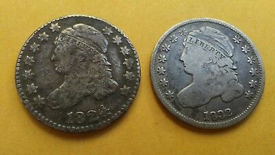 Capped Bust Dime Lot (2) 1824/2 & 1832 old silver 10C